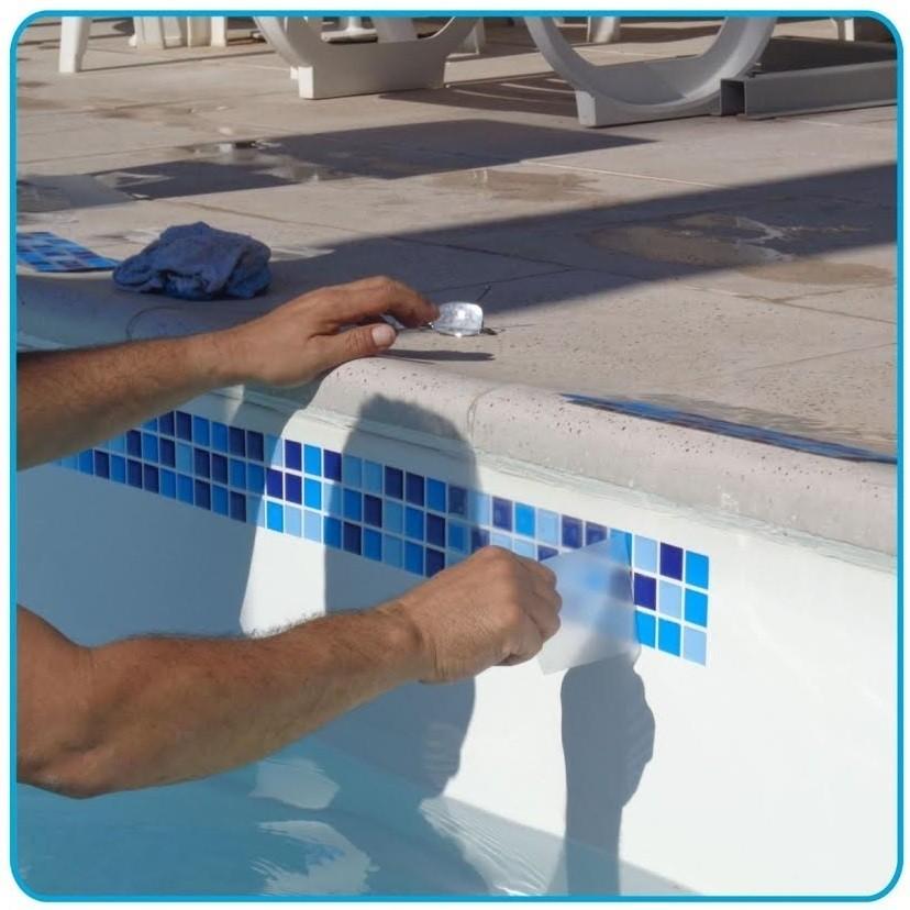 Adesivo para borda de piscina - colocação 20cm