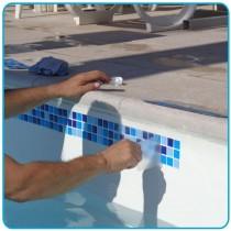 Adesivo para borda de piscina - colocação 15cm